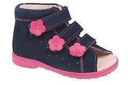 Sandałki Profilaktyczne Ortopedyczne Buty DAWID 1041 Granat+Róż GRC
