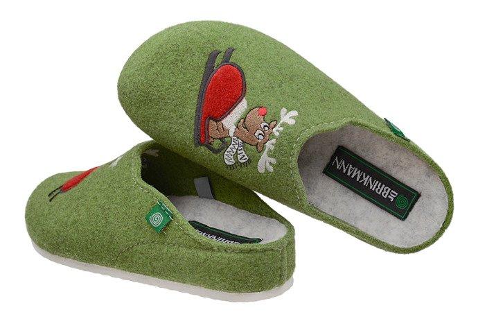 Kapcie Dr BRINKMANN 320541-7 Pistacjowe Pantofle domowe Ciapy
