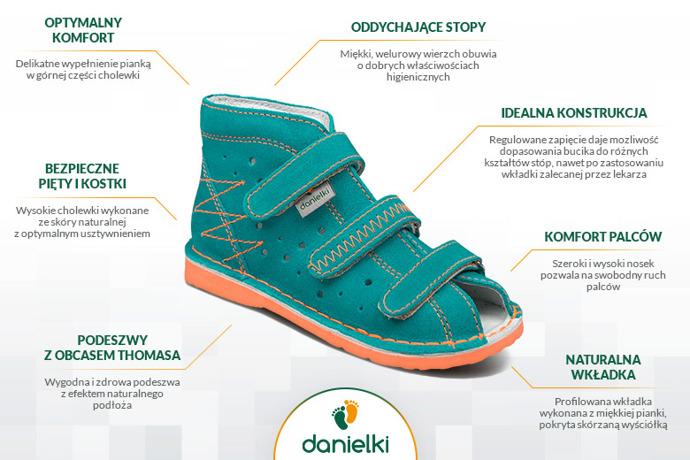 Kapcie profilaktyczne buty DANIELKI TA105 TA115 Turkus Pomarańcz