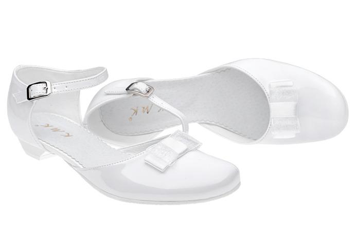 Pantofelki buty komunijne dla dziewczynki KMK 204 Białe