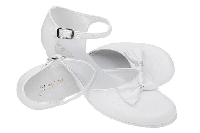 Pantofelki buty komunijne dla dziewczynki KMK 163 Białe