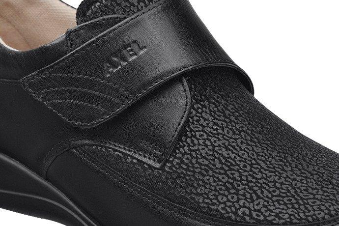 Półbuty AXEL Comfort 1397 Czarne Stretch H na rzepy