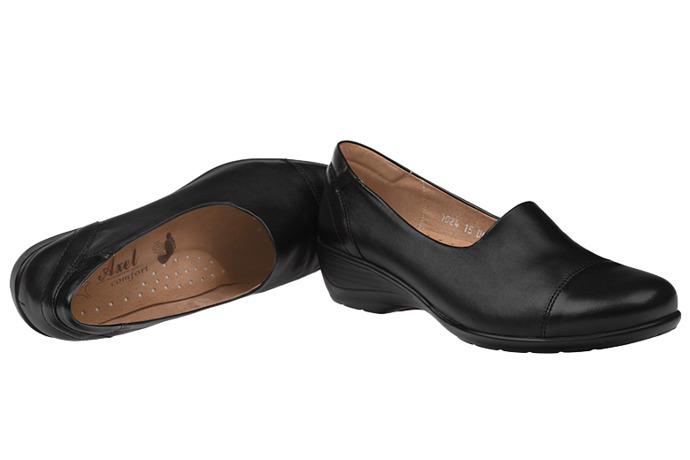 Półbuty na koturnie AXEL Comfort 1024 Czarne wsuwane
