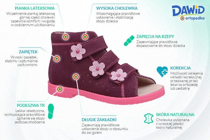 Sandały Profilaktyczne Ortopedyczne Buty DAWID 1043 Fiolet FC2