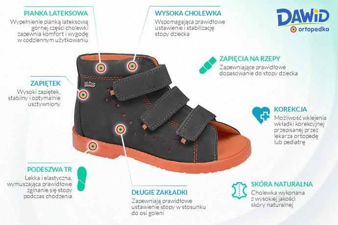 Sandały Profilaktyczne Ortopedyczne DAWID 1043