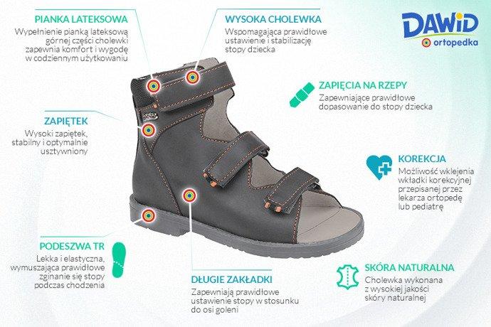 Trzewiki Profilaktyczne Ortopedyczne Buty DAWID 952 SZ Szary